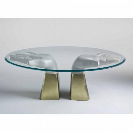 træ spisebord med glasplade, fremstillet i Italien, Bartolo