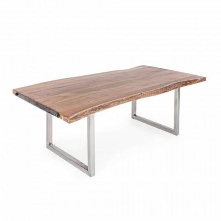 Homemotion Spisebord i akacietræ og rustfrit stål - Convo