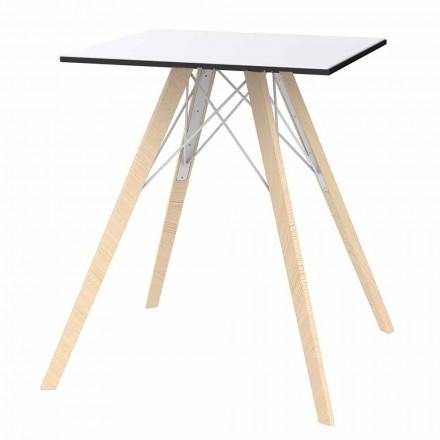 Firkantet design træ og Hpl spisebord, 4 stykker - Faz Wood af Vondom