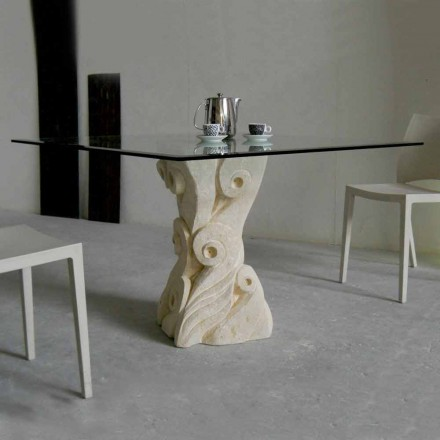 sten spisebord med glasplade design Giasone