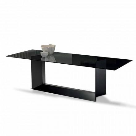 Spisebord i røget eller ekstrem lys glas og metal fremstillet i Italien - Moro