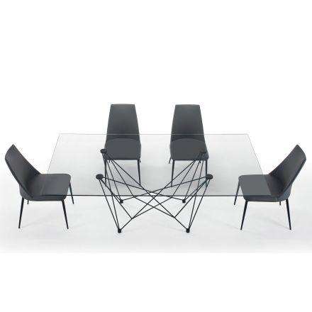Spisebord i hærdet glas og sort stål fremstillet i Italien - Ezzellino