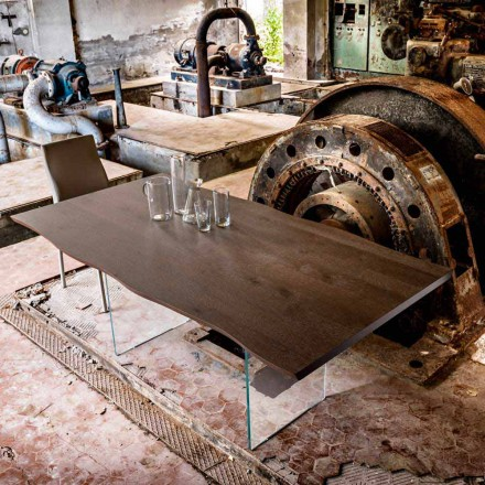 Moderne spisebord 100x200cm træ med glas ben Flora