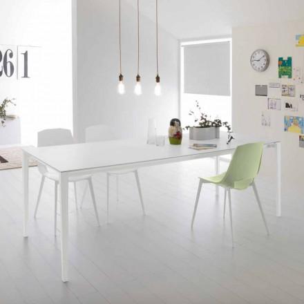 Moderne udtrækkeligt bord til spisestue, aluminiumsstruktur - Bolsena