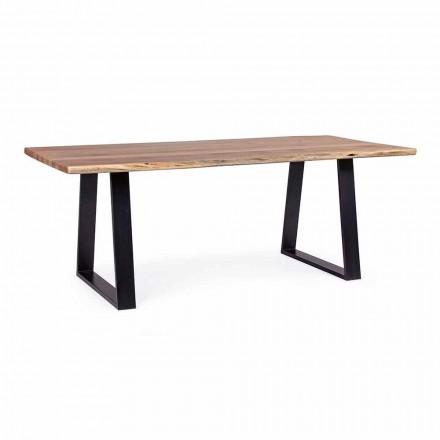 Homemotion industrielt spisebord med akacietræplade - Vermont