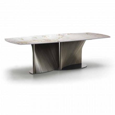 Luksus spisebord i stentøj og asketræ fremstillet i Italien - Croma
