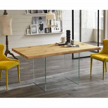 Moderne spisebord i eg finer, glas ben Nico