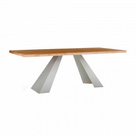 Spisebord i træ og hvidt metal, høj kvalitet lavet i Italien - Miuca
