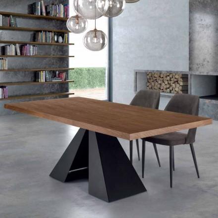 Moderne spisebord i veneret træ og stål fremstillet i Italien - Dalmata