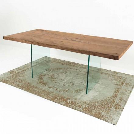Moderne spisebord i levende træ og glas fremstillet i Italien - Strappo