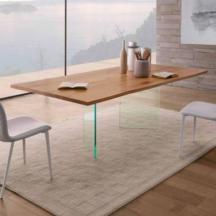 Spisebord i knudeeg og glas af høj kvalitet fremstillet i Italien - Sibillo