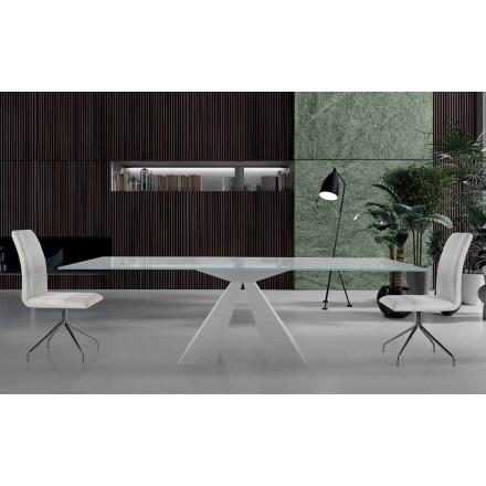 Moderne spisebord i hvidt stål og glas fremstillet i Italien - Dalmata