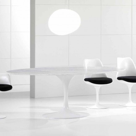 Luksus ovalt spisebord, Carrara marmortop, fremstillet i Italien - Nerone