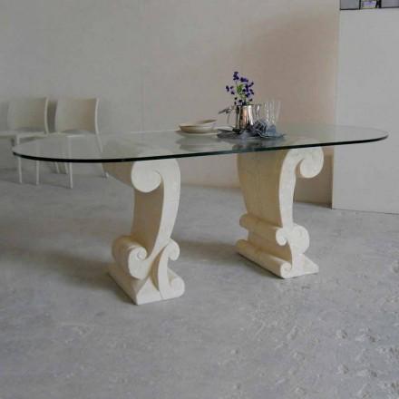 ovale spisebord af sten og klassisk design krystal Arachne