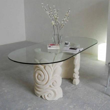 ovale spisebord i sten og moderne design krystal Aden