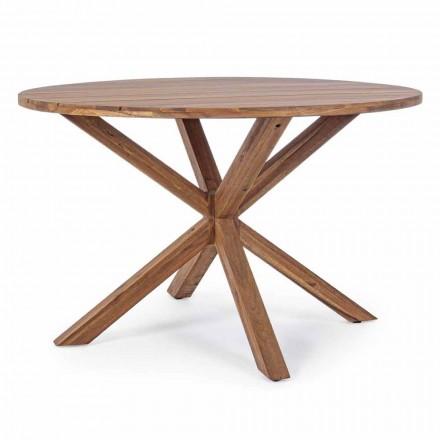 Udendørs spisebord med rund akacietræplade - Perry