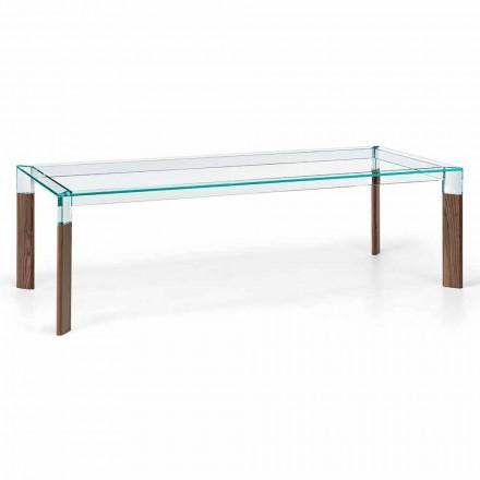 Spisebord Glasplade og massivt træbund lavet i Italien - Presino