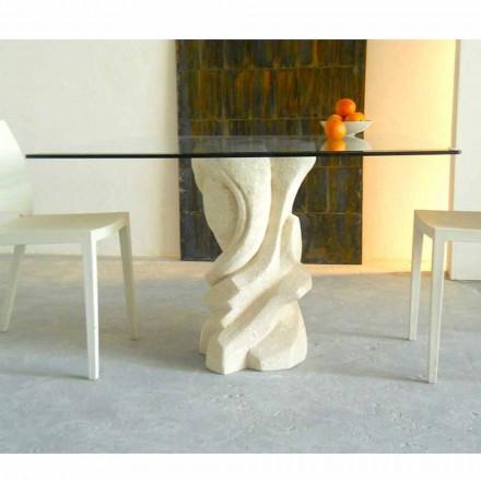 Firkant bord i Vicenza Stone og Leda krystal, håndskårne