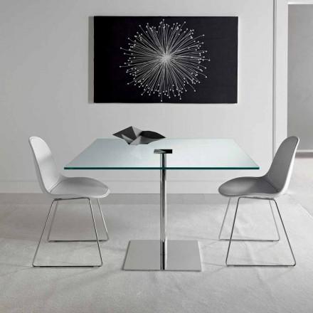 Firkantet spisebord i ekstremglasset glas og metal fremstillet i Italien - Dolce
