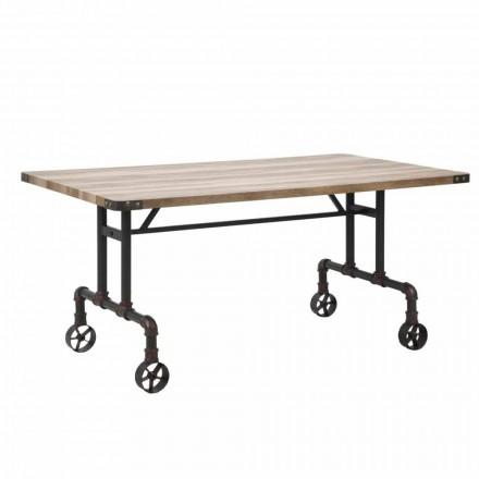 Rektangulært design spisebord, MDF top og metal base - Fabrice