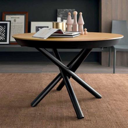 Rundt udtrækkeligt spisebord med træplade Fremstillet i Italien - Crodino