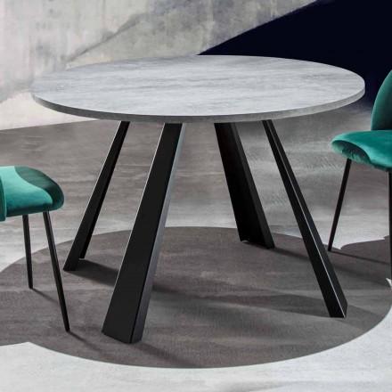 Rundt spisebord, der kan udvides Op til 370 cm i træ og metal - Caimano