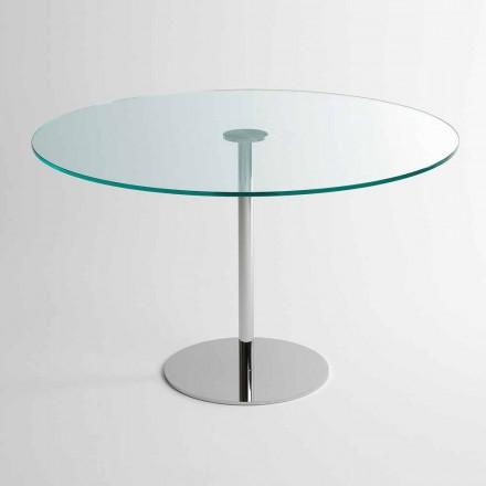 Rundt spisebord med ekstrem lys glasplade fremstillet i Italien - Dolce