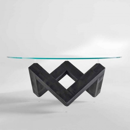 Rundt spisebord i træ med glasplade Bao, moderne design