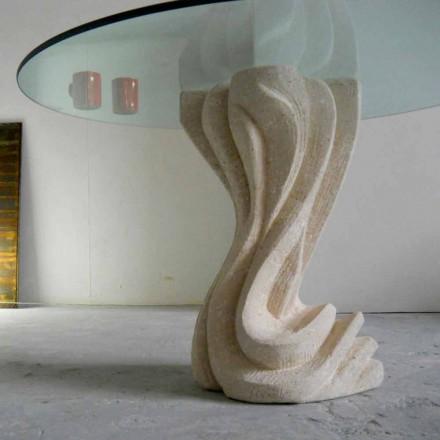 Rundt spisebord i sten med glasplade Cadmus