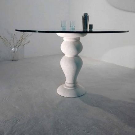 rund spisebord i sten og krystal Ødipus, klassisk design