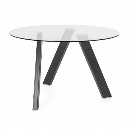 Rund spiseborddiameter 120 cm i glas- og metaldesign - Tonto