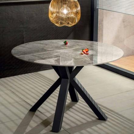 Moderne rundt spisebord i keramisk marmoreffekt og metal - Jarvis