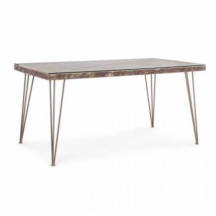 Spisebord i industriel stil med top i Mdf og Glass Homemotion - Brasil