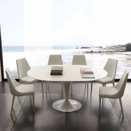 Rundt spisebord, der kan udvides op til 170 cm Topeka, moderne design