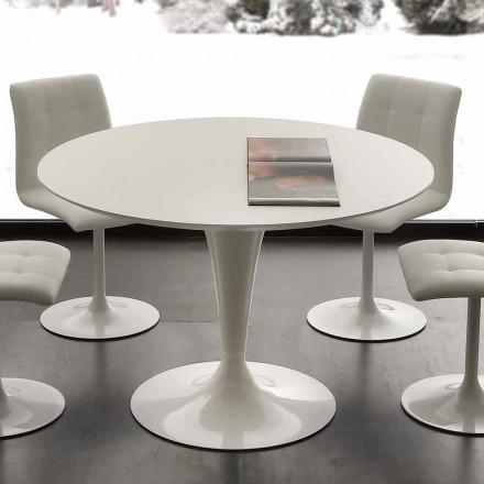 Topeka hvidt rundt spisebord, moderne design