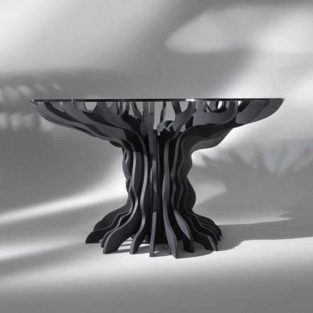 Cassia runde spisebord, klaver sort træ og glas top