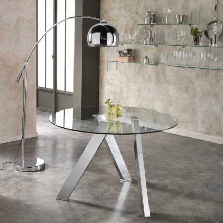 Rundt spisebord med glasplade i Adam, moderne design