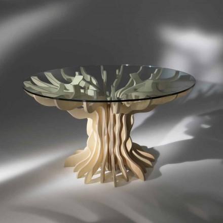 Rundt spisestue træbord med hærdet glas top Dalia