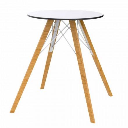 Rundt spisebord i træ og Hpl-top, 4 stykker - Faz Wood af Vondom