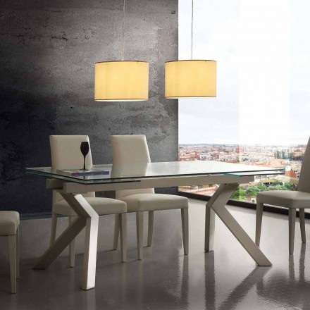 Moderne udtræksbord Mesa, lavet af metal og hærdet glas