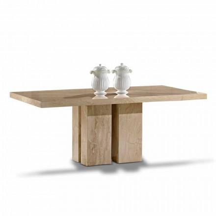 Luksusbord med moderne design, top i Daino Marble lavet i Italien - Zarino