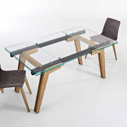 Udvideligt bord i glas og massivt træ lavet i Italien, Dimitri