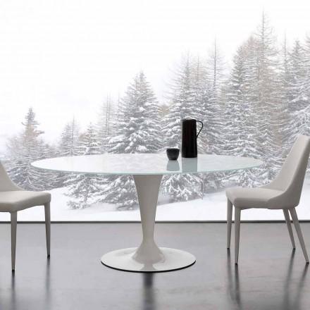 Moderne bord Aurora lavet af ekstrahvidt hærdet glas og stål