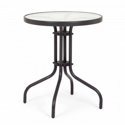 Rundt stål havebord med designglastop - Purizia