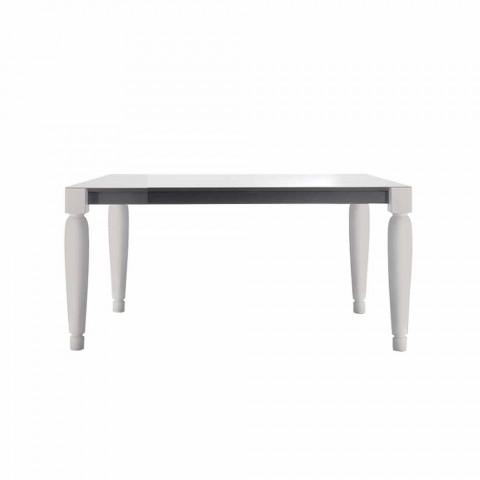 6-pers. Design keramisk bord og hvide træben - Claudiano