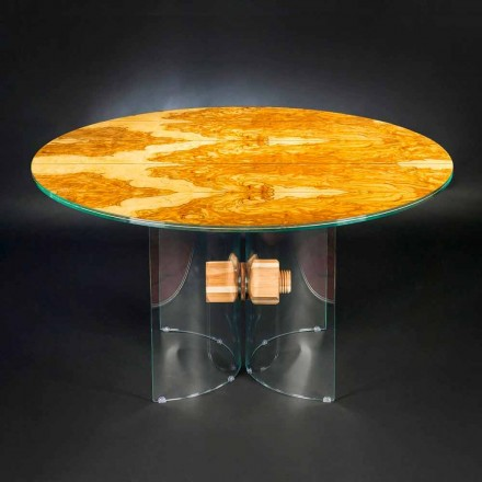 oliven træ bord og Portofino runde glas