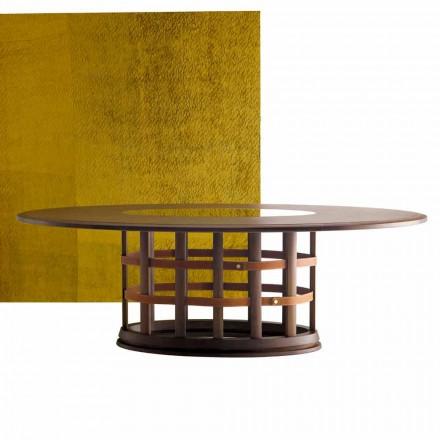 Grilli Harris moderne elliptisk massivt træbord lavet i Italien