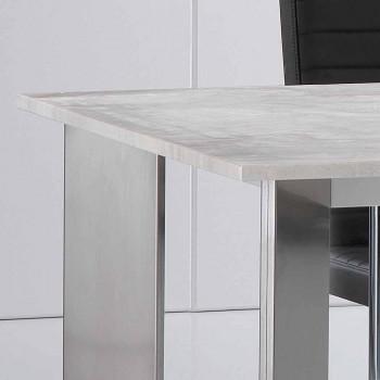 Travertin stenbord med polerede stålben Pompilio