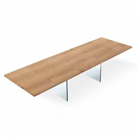Udvideligt moderne bord op til 300 cm i lamineret og glas fremstillet i Italien - Strappo
