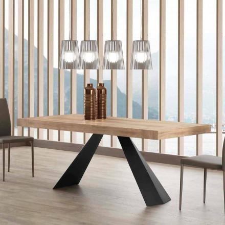 Moderne bord, der kan udvides op til 260/280 cm i træ og metal Teramo